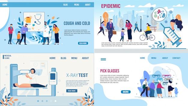Medizinische tests behandlungsmethoden landing page set