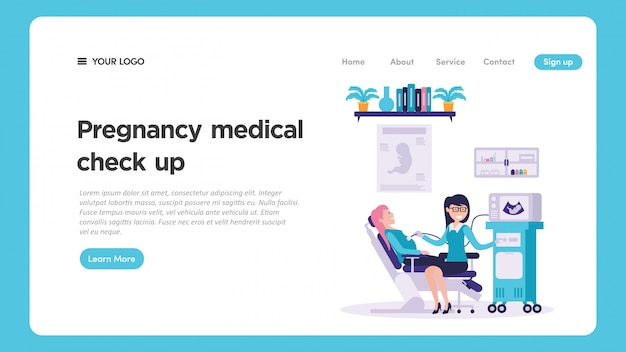 Medizinische überprüfungsillustration der schwangerschaft für websiteseite