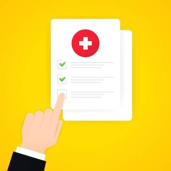 Medizinische umfrage-abbildung. handklick auf medizinische formularliste mit ergebnisdaten und genehmigtem häkchen. dokument mit klinischer checkliste. vektor-eps 10