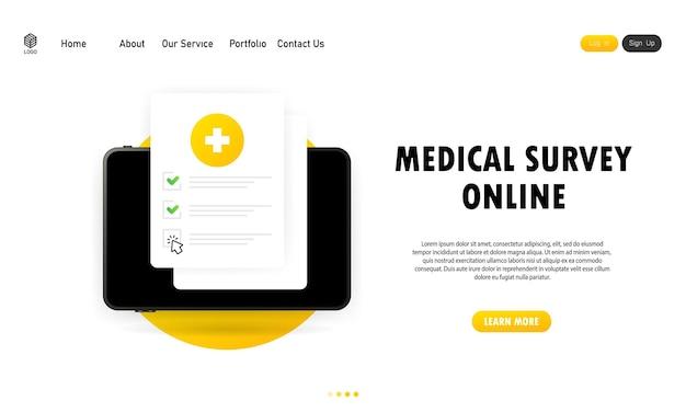 Medizinische umfrage online-abbildung. liste der medizinischen formulare mit ergebnisdaten und genehmigtem häkchen. elektronische online-versicherung, medizinservice. vektor-eps 10.
