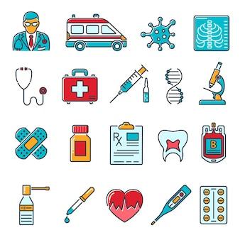 Medizinische und gesundheitswesen farbige liniensymbole wie arzt, gesundheitsbehandlung, coronavirus, bluttransfusion, kardiogramm, rezept. isolierte vektorillustration
