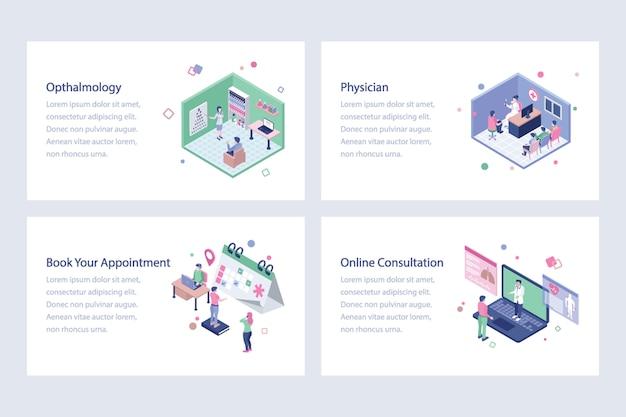 Medizinische und isometrische illustrationen für das gesundheitswesen