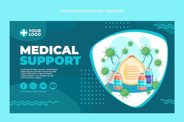 Medizinische unterstützung des flachen designs zuckender hintergrund