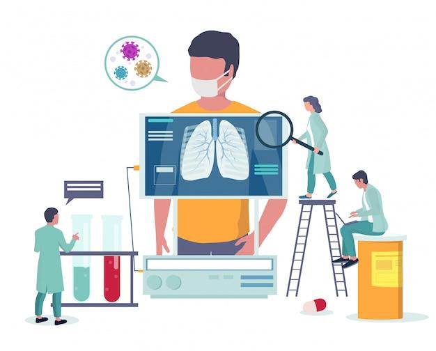 Medizinische untersuchung der atemwegserkrankung. virusepidemie, prävention und sensibilisierung für coronavirus-erkrankungen. medizinische banner-vorlage des corona-virus. lungenröntgentest.