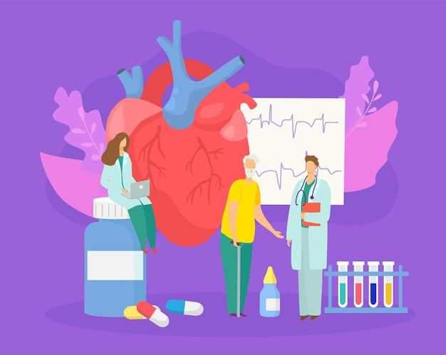 Medizinische untersuchung konzept vektorillustration arzt mann frau charakter untersuchung patientenherzschlag bei ho...