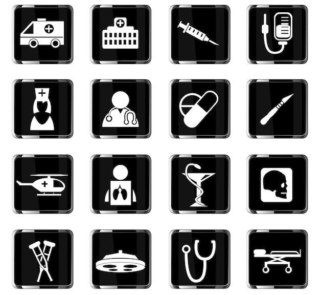 Medizinische vektorsymbole für das design der benutzeroberfläche