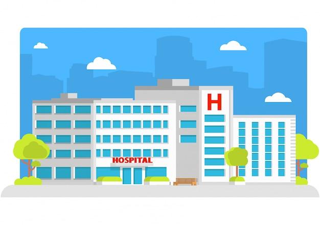 Medizinische versorgung des krankenhausgebäudestadtkrankenwagens.