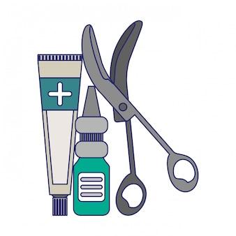 Medizinische versorgung liefert blaue linien