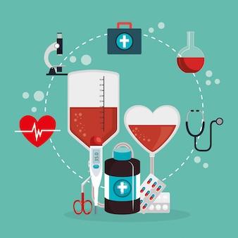 Medizinische versorgung mit icons
