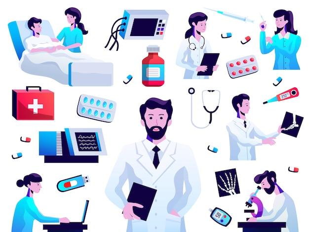 Medizinische versorgungsikonen sammlung mit arzt krankenschwester patientenlabortests medikamentenpillen injektion stethoskop isoliert vektor-illustration