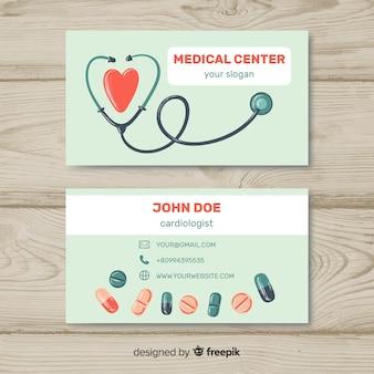 Medizinische visitenkarteschablone mit moderner art