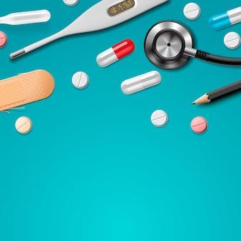 Medizinische vorlage erste hilfe und diagnostisches gesundheitswesen medizinische forschung und therapie vektorbild