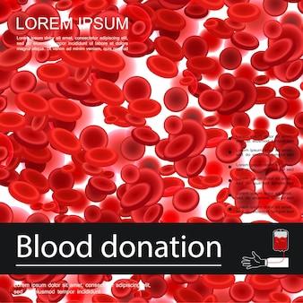 Medizinische vorlage für blutspende mit roten blutkörperchen oder erythrozyten in realistischer stilillustration,