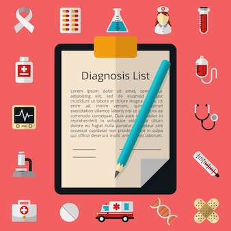 Medizinische vorlage mit weißem blatt papier. berichtsdokument, entwurfsformular, mikroskop und stethoskop, spritze und thermometer