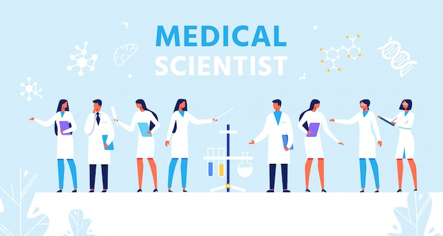 Medizinische wissenschaftler legen präsentation flache banner