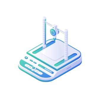 Medizinischer 3d-drucker isometrisch. elektronisches weißes instrument mit blauen tafeln zur rekonstruktion von organen und knochen des menschlichen körpers. moderne technologie zur herstellung bioorganischer implantate.