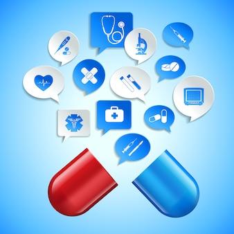 Medizinischer apothekenkrankenwagen und gesundheitswesenkonzept mit kapsel- und papierspracheblasen vector illustration
