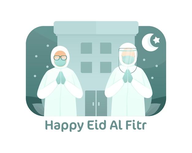 Medizinischer arbeiter feiern eid al fitr illustration
