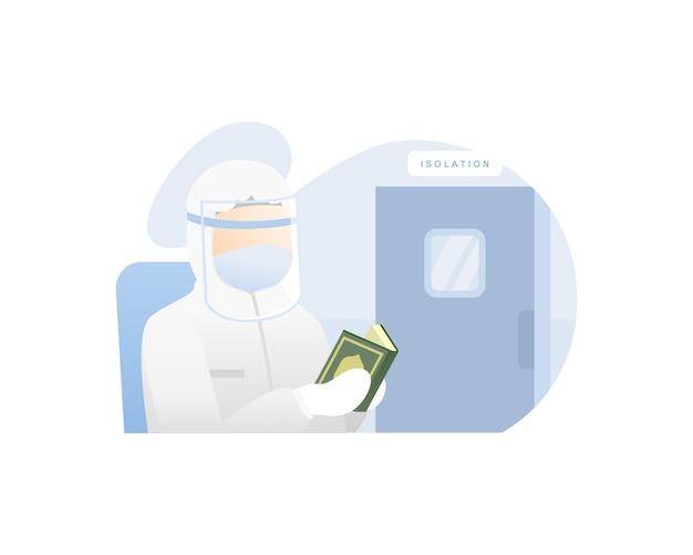 Medizinischer arbeiter las al-quran-illustration