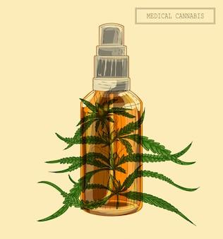 Medizinischer cannabiszweig und flasche
