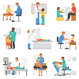 Medizinischer charakter des doktors und des patientenvektors, der die gesundheit der kinder im illustrationssatz des professionellen klinikbüros untersucht, der arzt-patienten-beziehung mit kindern isoliert auf weiß isoliert
