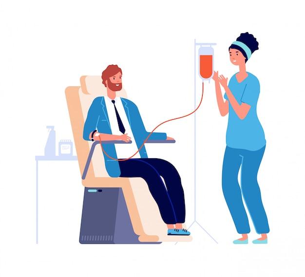 Medizinischer check-in. mann blutspender, männlicher freiwilliger und krankenschwester. transfusionsspende oder analyse in der abbildung des gesundheitszentrums