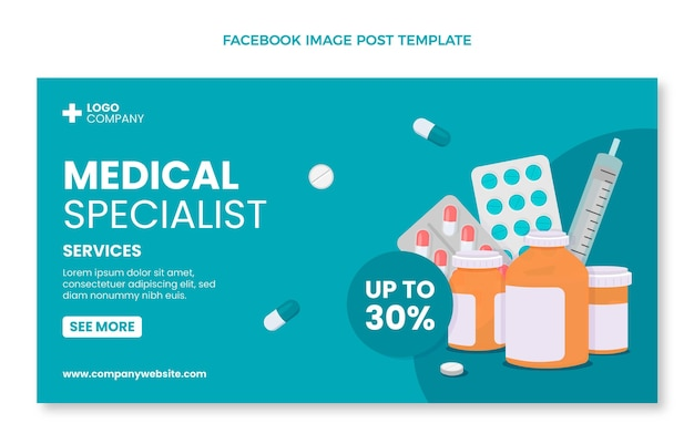 Medizinischer facebook-beitrag im flachen design