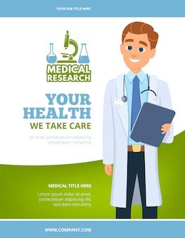 Medizinischer flyer. doktor im weißen kittelgesundheitskonzept, das seitenlayout mit platz für ihr textdesign annonciert