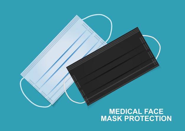 Medizinischer gesichtsmaskenschutz. illustration