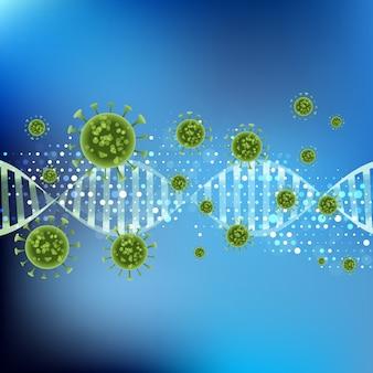 Medizinischer hintergrund mit abstrakten viruszellen auf dna-strang