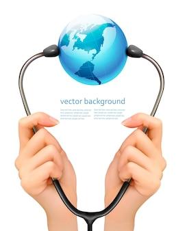 Medizinischer hintergrund mit den händen, die ein stethoskop mit globus halten. vektor.