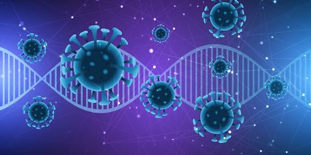 Medizinischer hintergrund mit dna-strang und abstrakten viruszellen