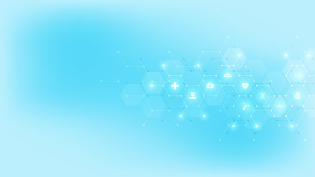 Medizinischer hintergrund mit flachen symbolen und symbolen. vorlagenentwurf mit konzept und idee für gesundheitstechnologie, innovationsmedizin, gesundheit, wissenschaft und forschung.