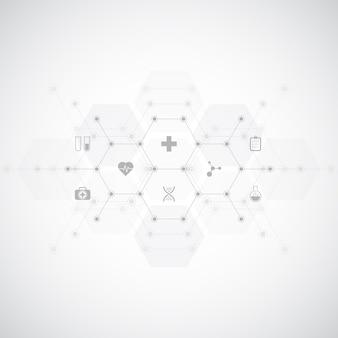 Medizinischer hintergrund mit flachen symbolen und symbolen.