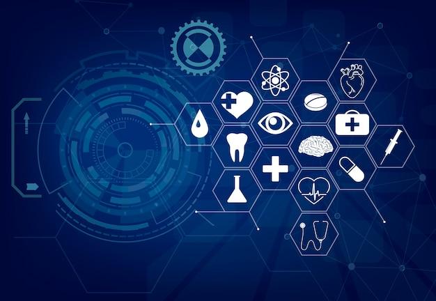 Medizinischer hintergrund. symbolmuster für das gesundheitswesen, banner für das konzept der medizinischen innovation. menschliches herz, knie, gehirnorgan. anatomiesymbole, spritze. kardiologie, augenlinie kunst. vektorgrafiken