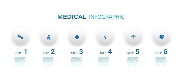 Medizinischer infografik-dünnlinienprozess mit quadratischem vorlagendesign mit symbolen und 6 optionen oder schritten. vektor-illustration.