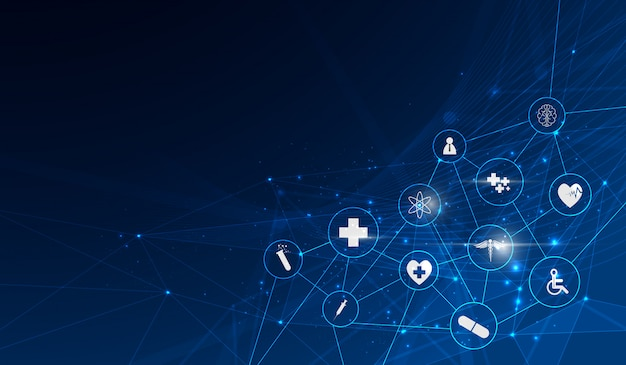 Medizinischer innovationshintergrund des gesundheitswesenikonen-musters