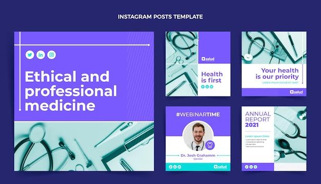 Medizinischer instagram-beitrag im flachen design