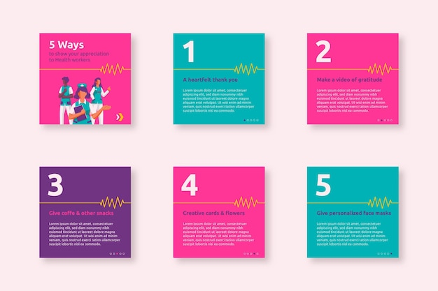 Medizinischer instagram-beitrag zur kreativen wertschätzung der krankenpflege