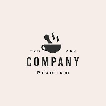 Medizinischer kaffeemörser pistill hipster vintage logo