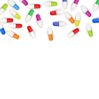 Medizinischer medizinischer hintergrund mit pillen. illustration