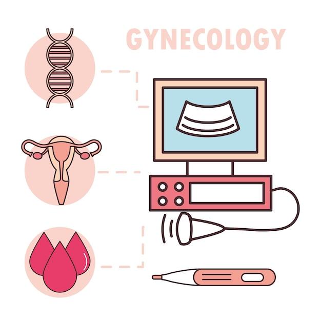 Medizinischer monitor uterus infografik