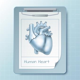 Medizinischer notizblock mit realistischer zwischenablage und bild des menschlichen herzens isoliert