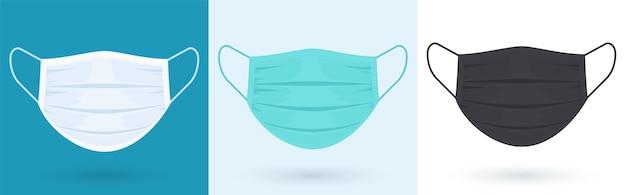 Medizinischer oder chirurgischer gesichtsschutz. blaue, weiße, schwarze schutzmaske mit ohrschlaufe, vorderansicht.