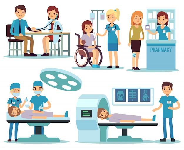 Medizinischer patient und doktoren im vektorsatz der medizinischen tätigkeit