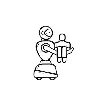 Medizinischer roboter, der das handgezeichnete umriss-doodle-symbol des patienten trägt. medizinische hilfe, roboterassistenzkonzept. vektorskizzenillustration für print, web, mobile und infografiken auf weißem hintergrund.