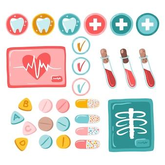 Medizinischer satz von aufkleberanalysen und -untersuchungen. isolierte flache illustration im einfachen karikaturstil auf einem weißen hintergrund. ideal für planer