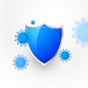Medizinischer schutzschild, der das coronavirus stoppt und zerstört