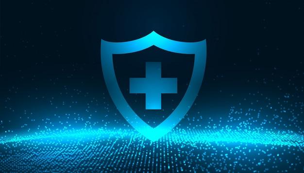 Medizinischer schutzschild mit leuchtend blauen partikeln