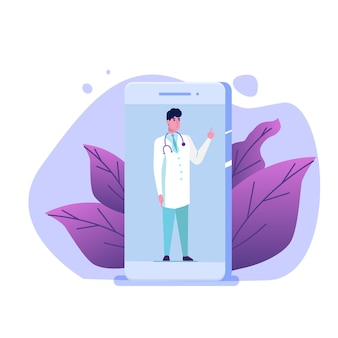 Medizinischer service, app-seitenbildschirm. doktor online-konzept.